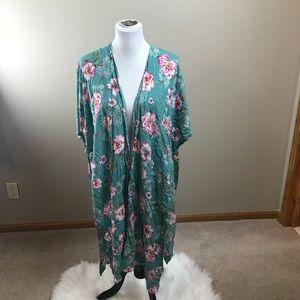 Floral Kimono Torrid Aqua Blue Green